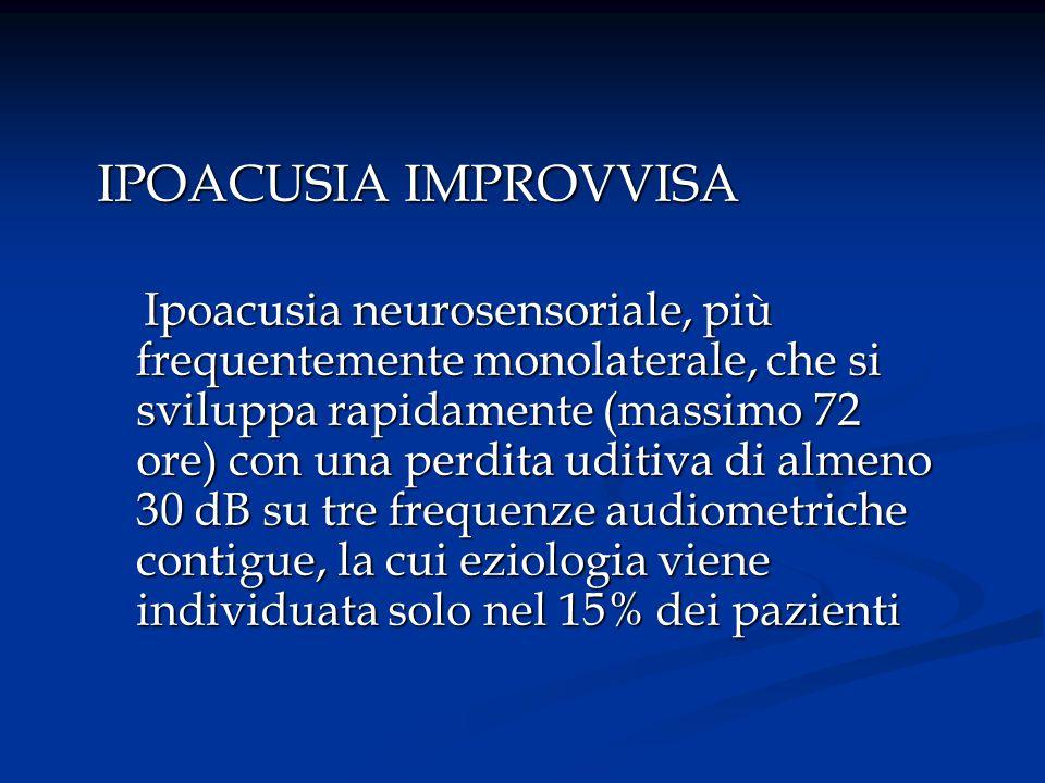 IPOACUSIA FLUTTUANTE Ipoacusia neurosensoriale, più frequentemente monolaterale, fluttuante in ore, giorni e settimane, con una perdita uditiva predominante più frequentemente sulle frequenze gravi Ipoacusia neurosensoriale, più frequentemente monolaterale, fluttuante in ore, giorni e settimane, con una perdita uditiva predominante più frequentemente sulle frequenze gravi
