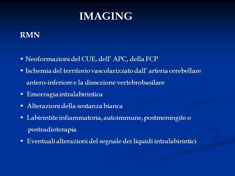 IMAGING RMN Neoformazioni del CUE, dell' APC, della FCP Ischemia del territorio vascolarizzato dall' arteria cerebellare antero-inferiore e la dissezi