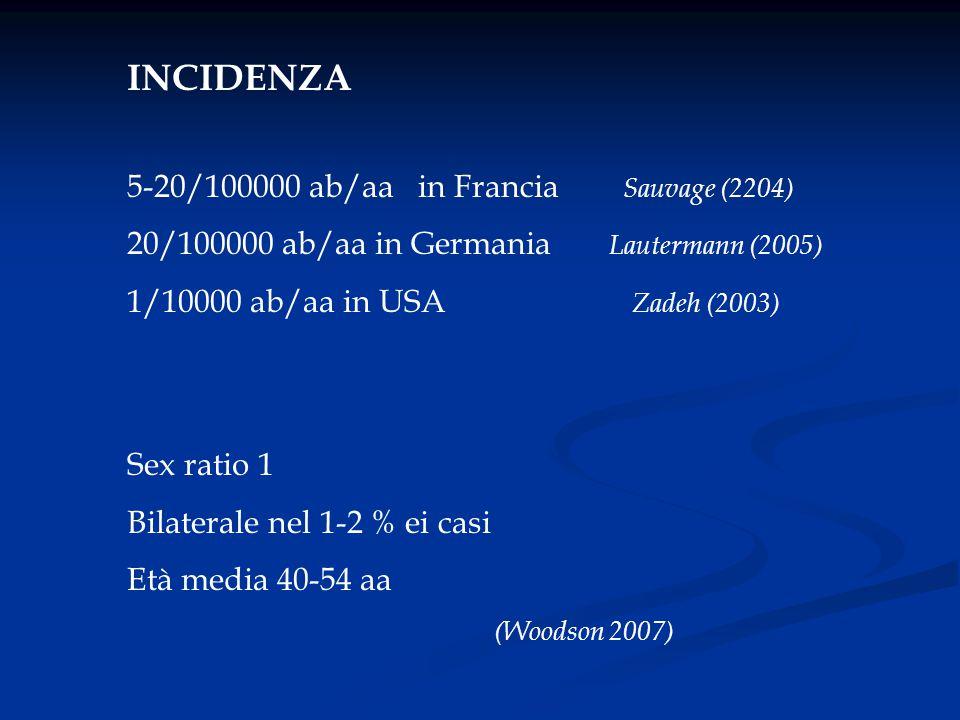 INCIDENZA 5-20/100000 ab/aa in Francia Sauvage (2204) 20/100000 ab/aa in Germania Lautermann (2005) 1/10000 ab/aa in USA Zadeh (2003) Sex ratio 1 Bila