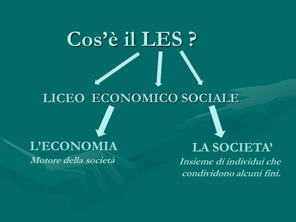 Cos'è il LES ? LICEO ECONOMICO SOCIALE L'ECONOMIA Motore della società LA SOCIETA' Insieme di individui che condividono alcuni fini.