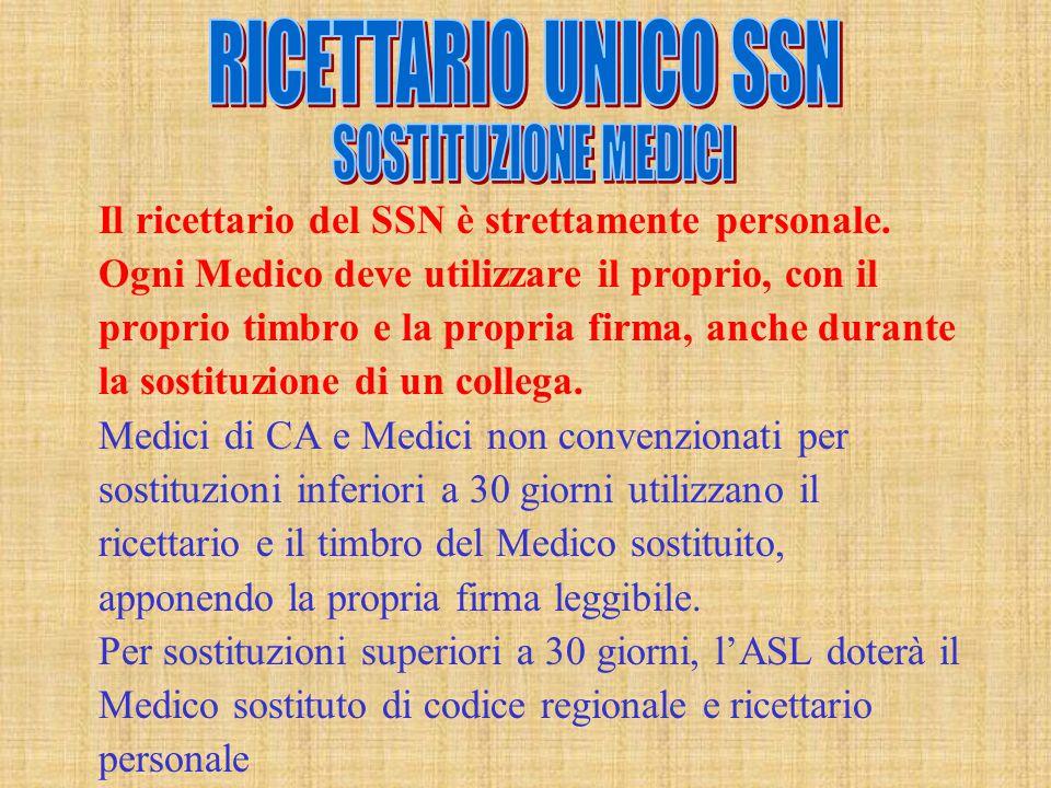 Il ricettario del SSN è strettamente personale. Ogni Medico deve utilizzare il proprio, con il proprio timbro e la propria firma, anche durante la sos