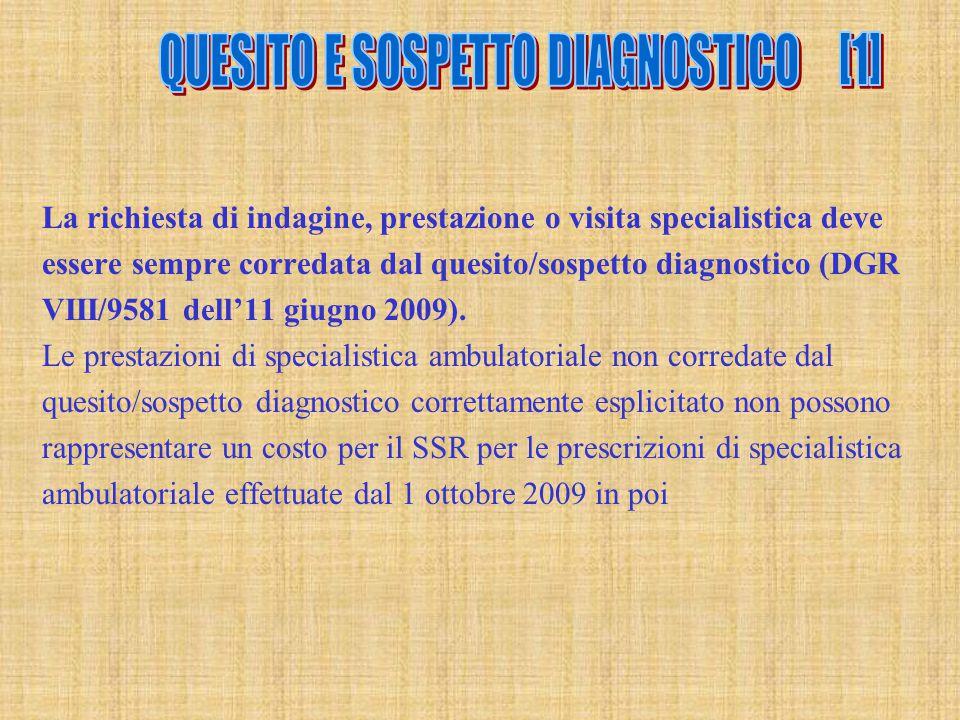 La richiesta di indagine, prestazione o visita specialistica deve essere sempre corredata dal quesito/sospetto diagnostico (DGR VIII/9581 dell'11 giugno 2009).