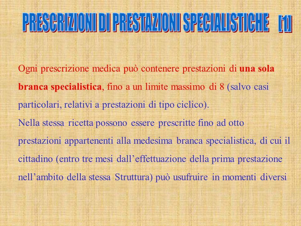 Ogni prescrizione medica può contenere prestazioni di una sola branca specialistica, fino a un limite massimo di 8 (salvo casi particolari, relativi a