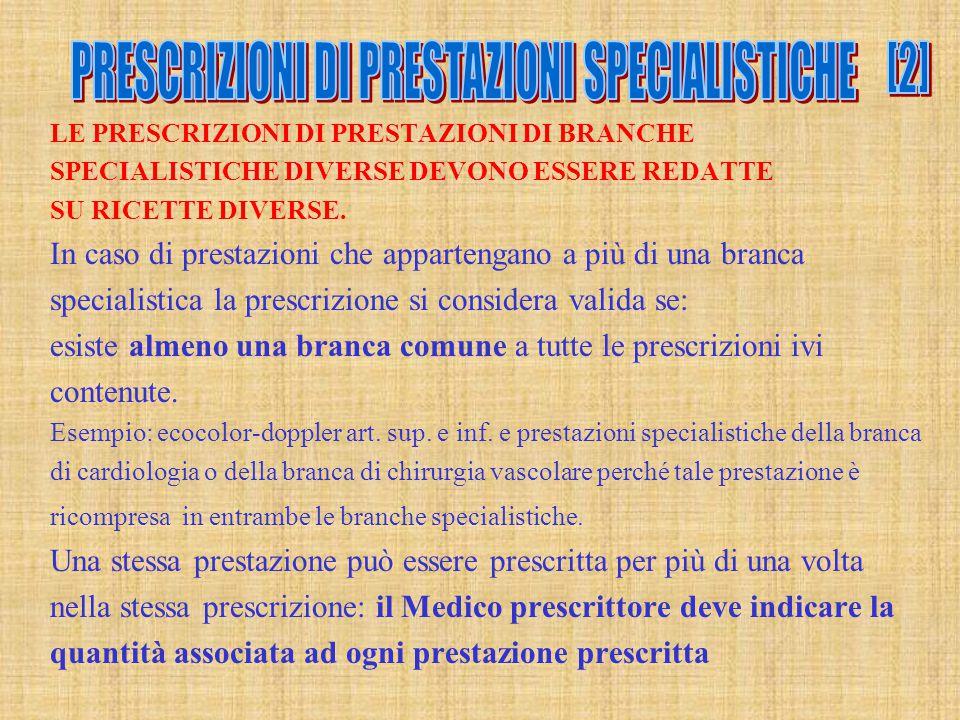LE PRESCRIZIONI DI PRESTAZIONI DI BRANCHE SPECIALISTICHE DIVERSE DEVONO ESSERE REDATTE SU RICETTE DIVERSE. In caso di prestazioni che appartengano a p