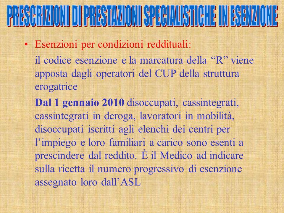 """Esenzioni per condizioni reddituali: il codice esenzione e la marcatura della """"R"""" viene apposta dagli operatori del CUP della struttura erogatrice Dal"""