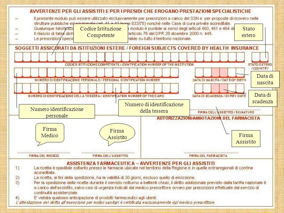Firma Medico Firma Assistito Codice Istituzione Competente Stato estero Data di nascita Firma Assistito Numero identificazione personale Numero di identificazione della tessera Data di scadenza