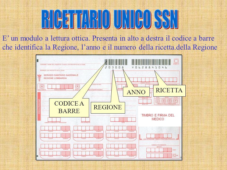 TIMBRO E FIRMA DEL MEDICO CODICE A BARRE REGIONE ANNO RICETTA E' un modulo a lettura ottica. Presenta in alto a destra il codice a barre che identific