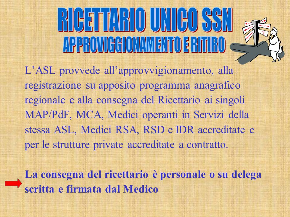 L'ASL provvede all'approvvigionamento, alla registrazione su apposito programma anagrafico regionale e alla consegna del Ricettario ai singoli MAP/PdF, MCA, Medici operanti in Servizi della stessa ASL, Medici RSA, RSD e IDR accreditate e per le strutture private accreditate a contratto.