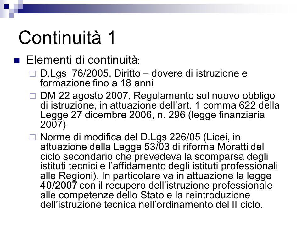 Continuità 1 Elementi di continuità :  D.Lgs 76/2005, Diritto – dovere di istruzione e formazione fino a 18 anni  DM 22 agosto 2007, Regolamento sul nuovo obbligo di istruzione, in attuazione dell'art.