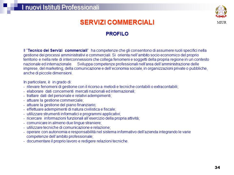 34 SERVIZI COMMERCIALI PROFILO MIUR I nuovi Istituti Professionali Il Tecnico dei Servizi commerciali ha competenze che gli consentono di assumere ruoli specifici nella gestione dei processi amministrativi e commerciali.
