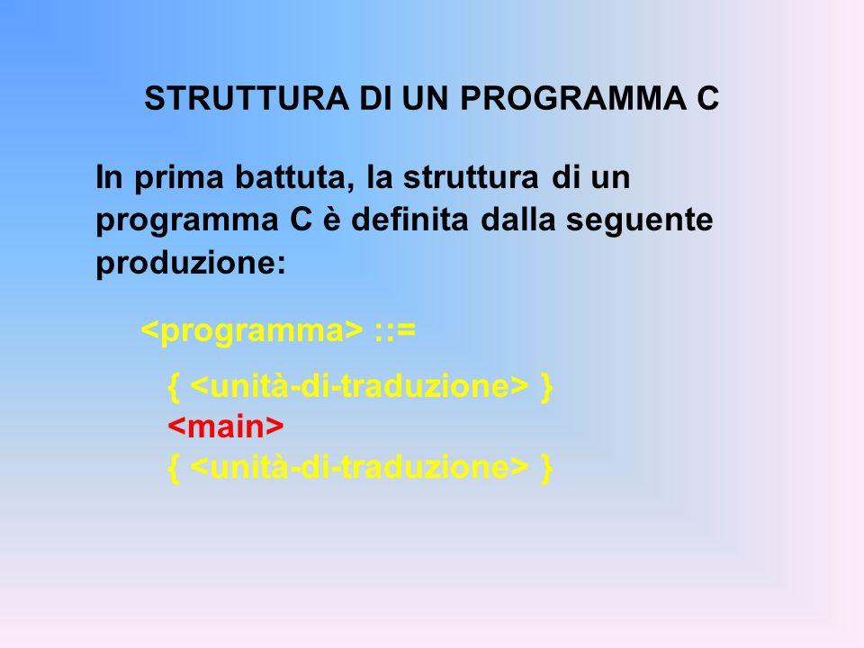 STRUTTURA DI UN PROGRAMMA C La parte è l'unica obbligatoria, ed è definita dalla produzione: ::= main(){ [ ] }