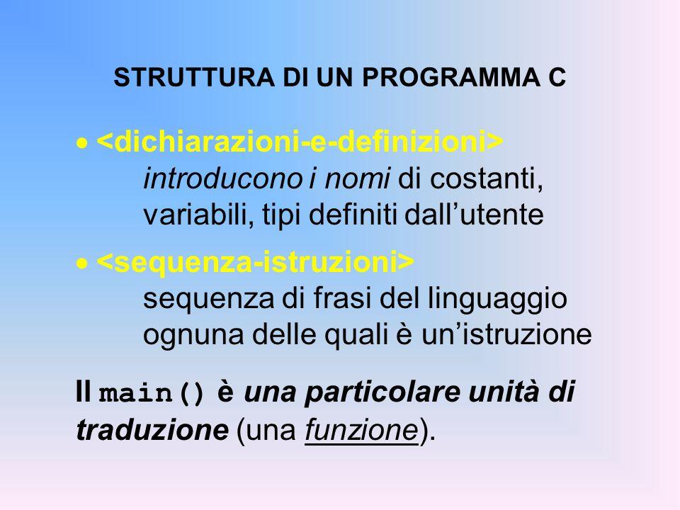 STRUTTURA DI UN PROGRAMMA C  introducono i nomi di costanti, variabili, tipi definiti dall'utente  sequenza di frasi del linguaggio ognuna delle quali è un'istruzione Il main() è una particolare unità di traduzione (una funzione).
