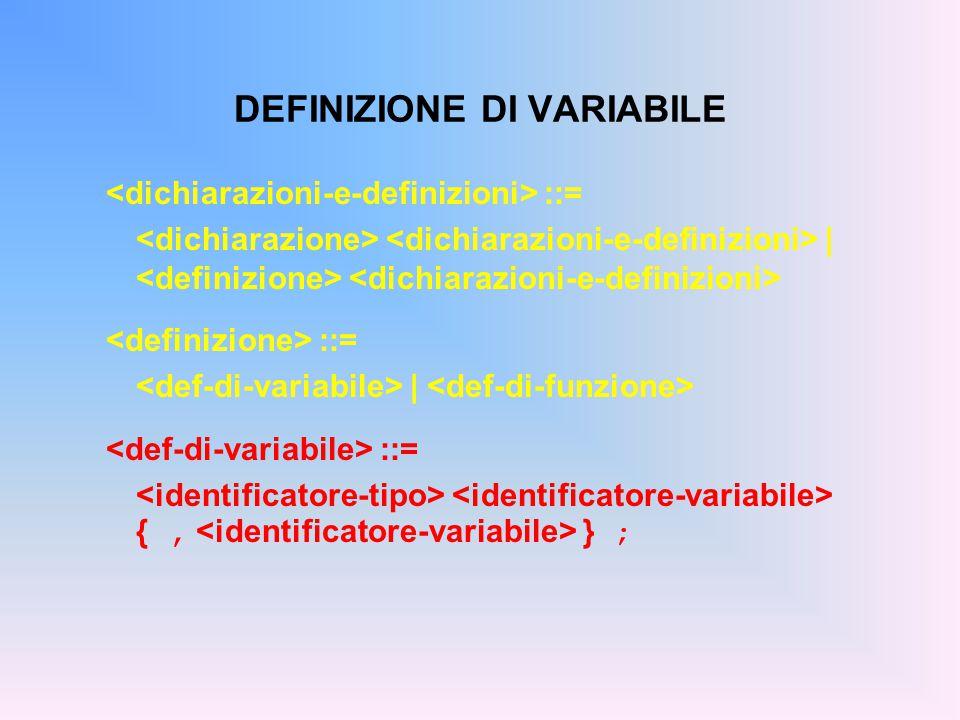 Definizione di una variabile: ; int x; /* x deve denotare un valore intero */ float y; /* y deve denotare un valore reale */ char ch; /* ch deve denotare un carattere */ DEFINIZIONE DI VARIABILE - ESEMPI
