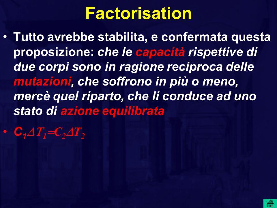Factorisation Tutto avrebbe stabilita, e confermata questa proposizione: che le capacità rispettive di due corpi sono in ragione reciproca delle mutazioni, che soffrono in più o meno, mercè quel riparto, che li conduce ad uno stato di azione equilibrata C 1  1  C 2  T 2