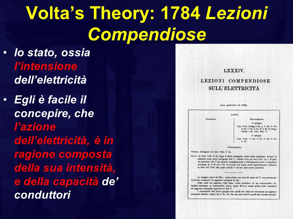 Volta's Theory: 1784 Lezioni Compendiose lo stato, ossia l'intensione dell'elettricità Egli è facile il concepire, che l'azione dell'elettricità, è in ragione composta della sua intensità, e della capacità de' conduttori