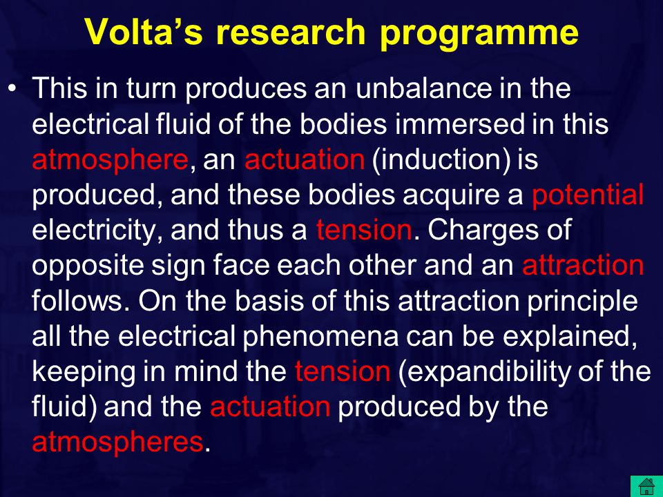 Volta's research programme This in turn produces an unbalance in the electrical fluid of the bodies immersed in this atmosphere, an actuation (inducti