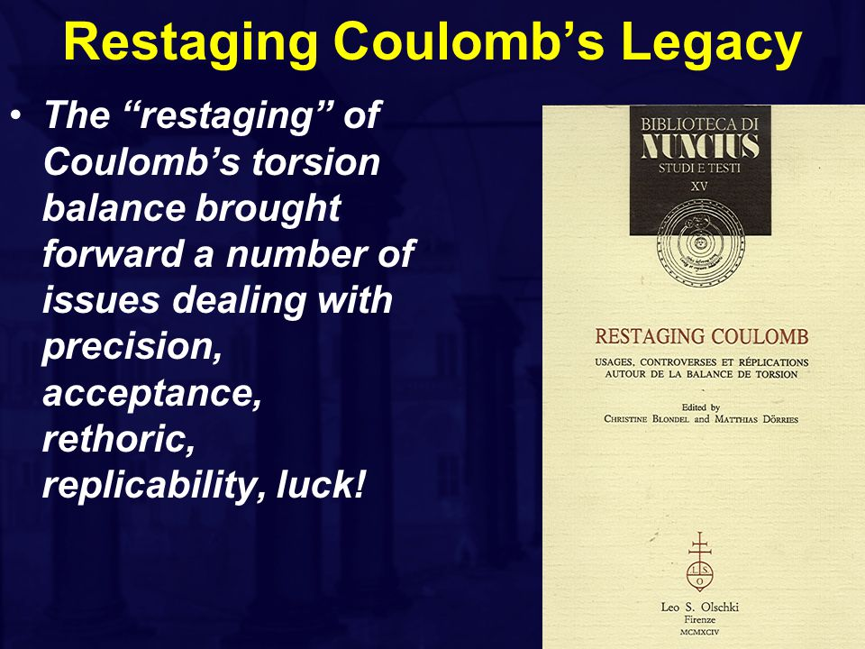 Restaging Coulomb's Legacy The restaging of Coulomb's torsion balance brought forward a number of issues dealing with precision, acceptance, rethoric, replicability, luck!