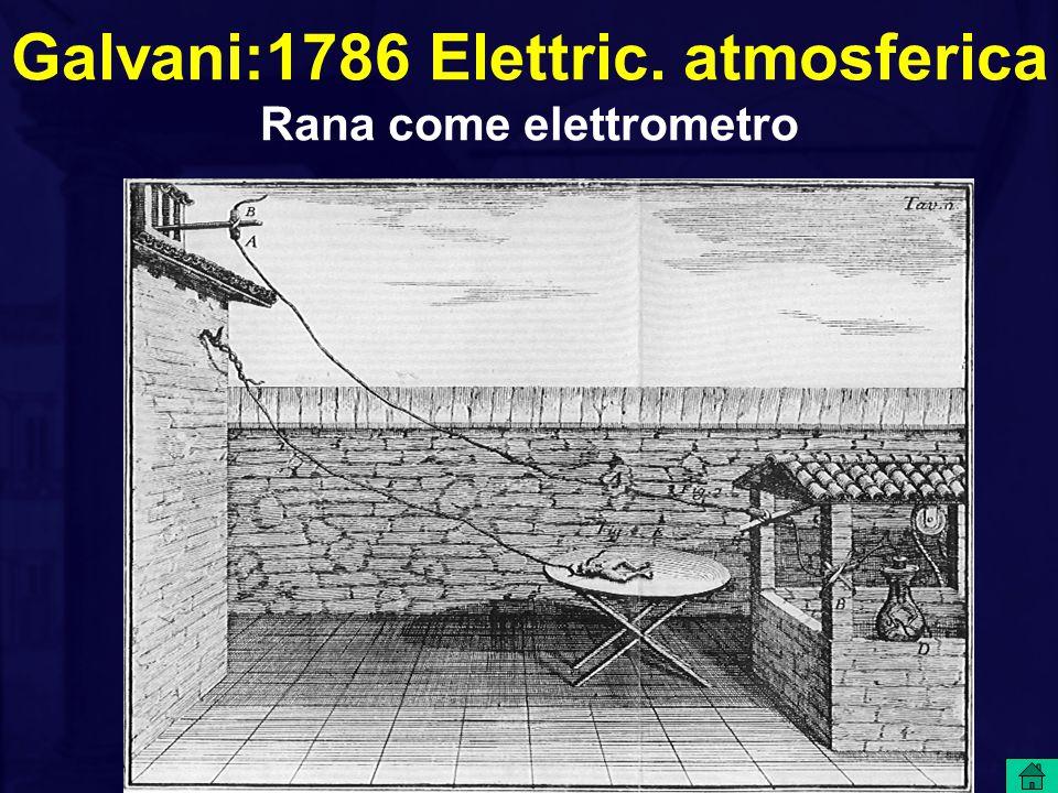 Galvani:1786 Elettric. atmosferica Rana come elettrometro