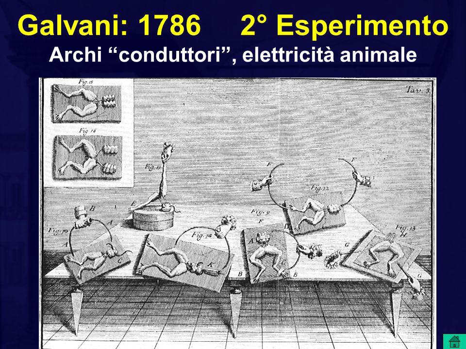 Galvani: 1786 2° Esperimento Archi conduttori , elettricità animale
