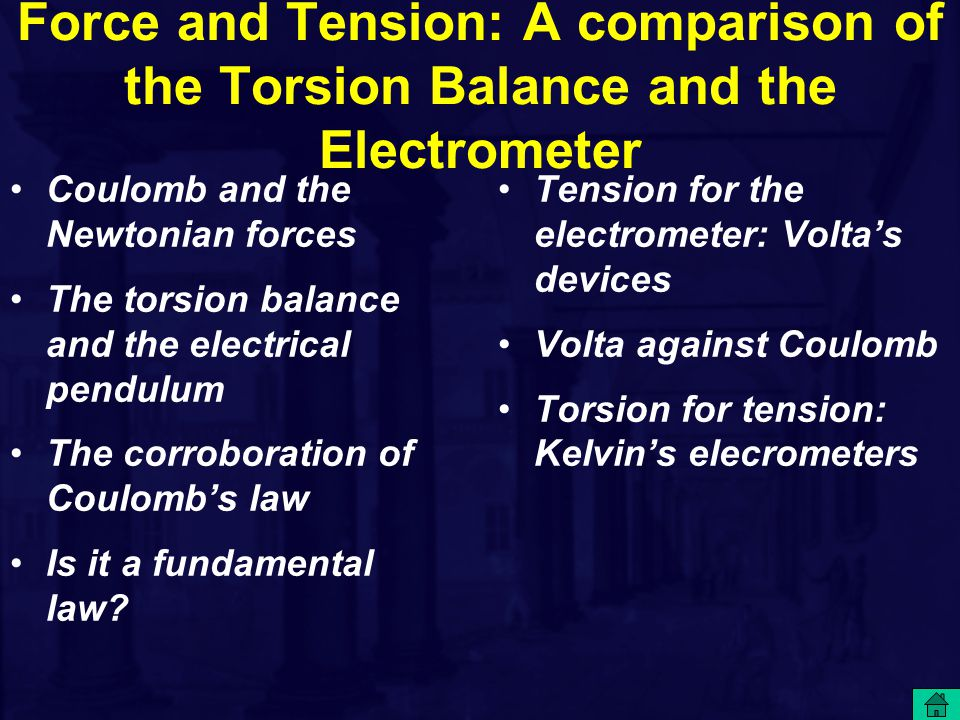 Force and Tension: A comparison of the Torsion Balance and the Electrometer Tension for the electrometer: Volta's devices Volta against Coulomb Torsio