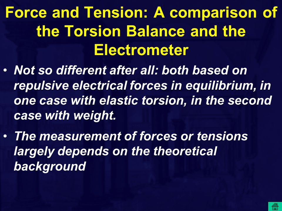 Force and Tension: A comparison of the Torsion Balance and the Electrometer Not so different after all: both based on repulsive electrical forces in e