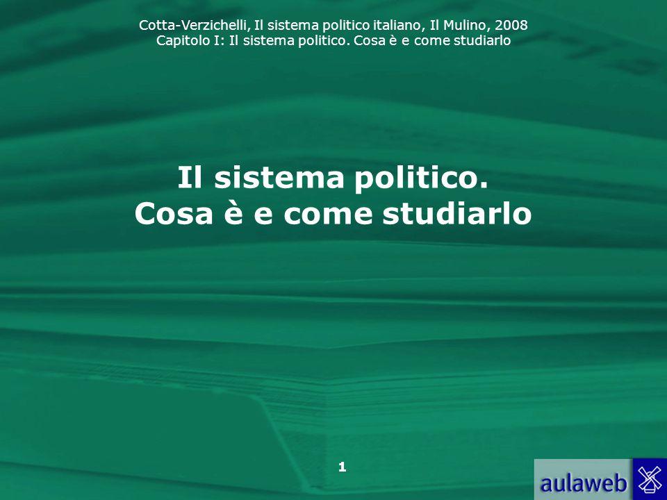 Cotta-Verzichelli, Il sistema politico italiano, Il Mulino, 2008 Capitolo I: Il sistema politico. Cosa è e come studiarlo 1 Il sistema politico. Cosa