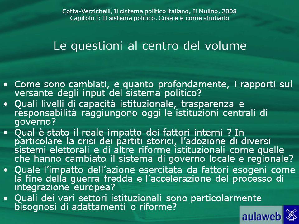 Cotta-Verzichelli, Il sistema politico italiano, Il Mulino, 2008 Capitolo I: Il sistema politico. Cosa è e come studiarlo Le questioni al centro del v