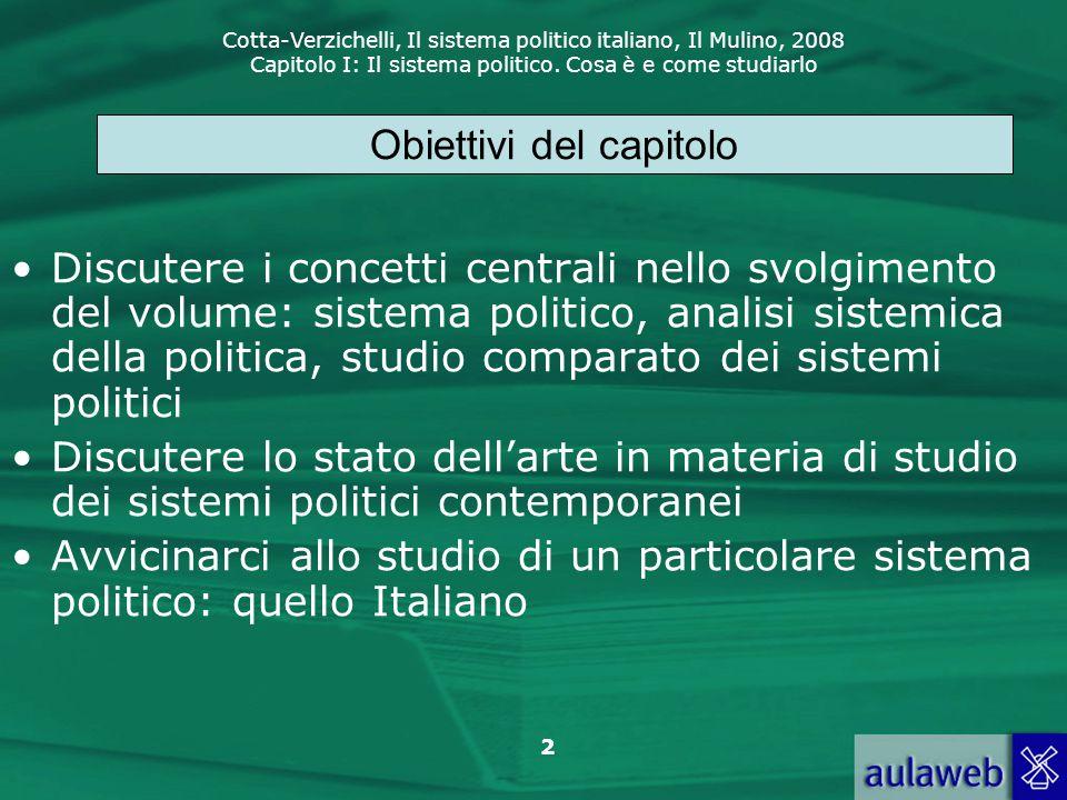Cotta-Verzichelli, Il sistema politico italiano, Il Mulino, 2008 Capitolo I: Il sistema politico. Cosa è e come studiarlo 2 Discutere i concetti centr