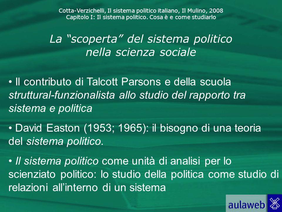 """Cotta-Verzichelli, Il sistema politico italiano, Il Mulino, 2008 Capitolo I: Il sistema politico. Cosa è e come studiarlo La """"scoperta"""" del sistema po"""