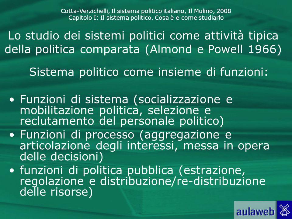 Cotta-Verzichelli, Il sistema politico italiano, Il Mulino, 2008 Capitolo I: Il sistema politico. Cosa è e come studiarlo Lo studio dei sistemi politi