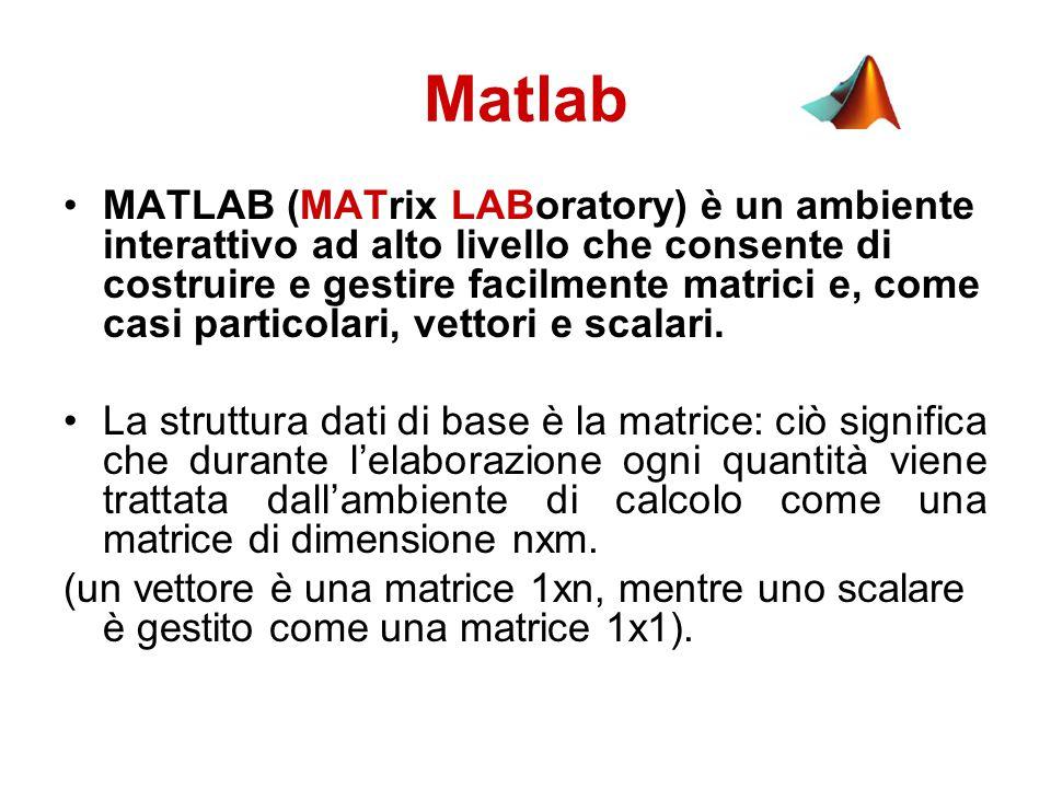 Matlab MATLAB (MATrix LABoratory) è un ambiente interattivo ad alto livello che consente di costruire e gestire facilmente matrici e, come casi particolari, vettori e scalari.