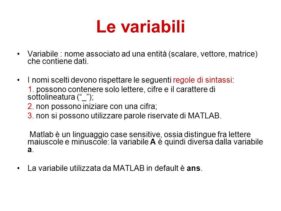 Le variabili Variabile : nome associato ad una entità (scalare, vettore, matrice) che contiene dati.