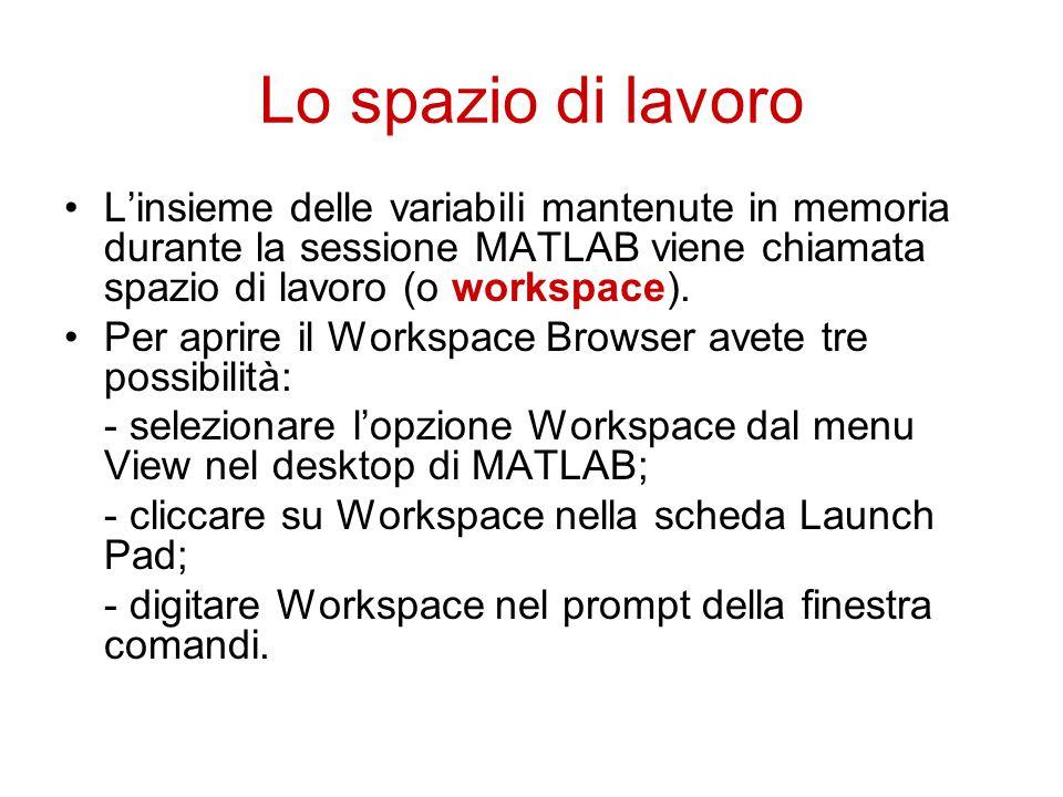 Lo spazio di lavoro L'insieme delle variabili mantenute in memoria durante la sessione MATLAB viene chiamata spazio di lavoro (o workspace).