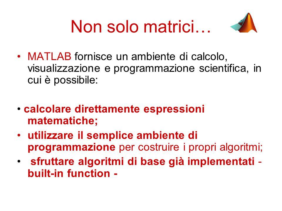 Scalari vettori e matrici Una matrice ha dimensione nxm (n righe, m colonne).