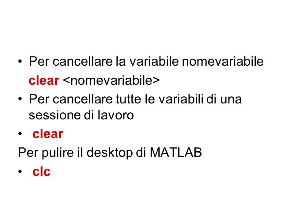 Per cancellare la variabile nomevariabile clear Per cancellare tutte le variabili di una sessione di lavoro clear Per pulire il desktop di MATLAB clc
