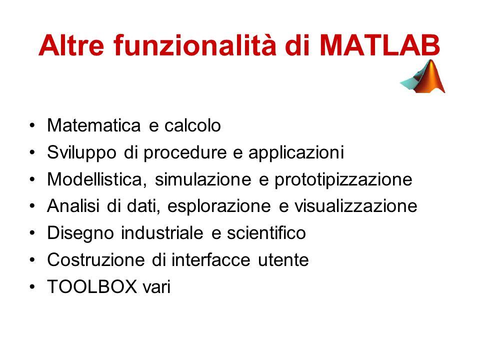 Altre funzionalità di MATLAB Matematica e calcolo Sviluppo di procedure e applicazioni Modellistica, simulazione e prototipizzazione Analisi di dati, esplorazione e visualizzazione Disegno industriale e scientifico Costruzione di interfacce utente TOOLBOX vari