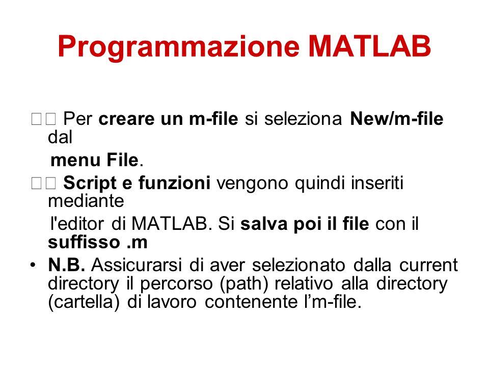 Programmazione MATLAB Per creare un m-file si seleziona New/m-file dal menu File.
