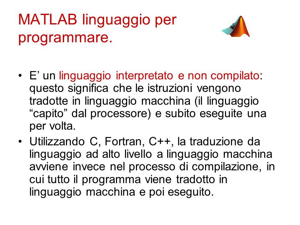 MATLAB linguaggio per programmare.