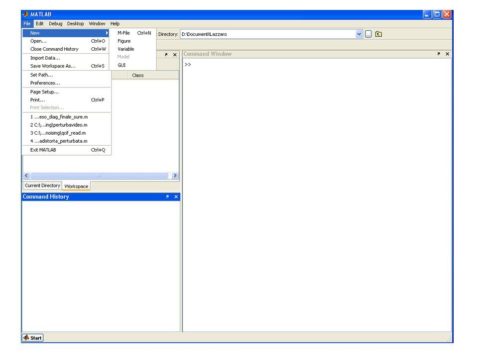 Esempio Esempio: scrivere uno script che calcola la media fra 4 variabili Scrivere nell'editor lo script a=10; b=20; c=30; d=40; media=(a+b+c+d)/4; Salvare l'm-file come prova.m Eseguire lo script digitando nella Command Window prova