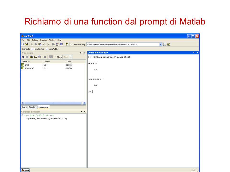 Richiamo di una function dal prompt di Matlab
