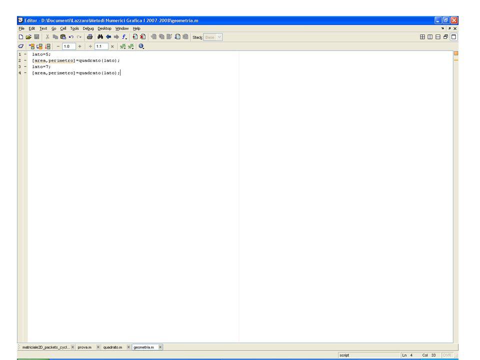 Richiamo di una function da uno script matlab