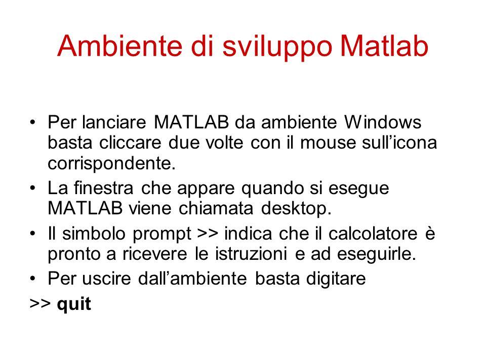 Ambiente di sviluppo Matlab Per lanciare MATLAB da ambiente Windows basta cliccare due volte con il mouse sull'icona corrispondente.