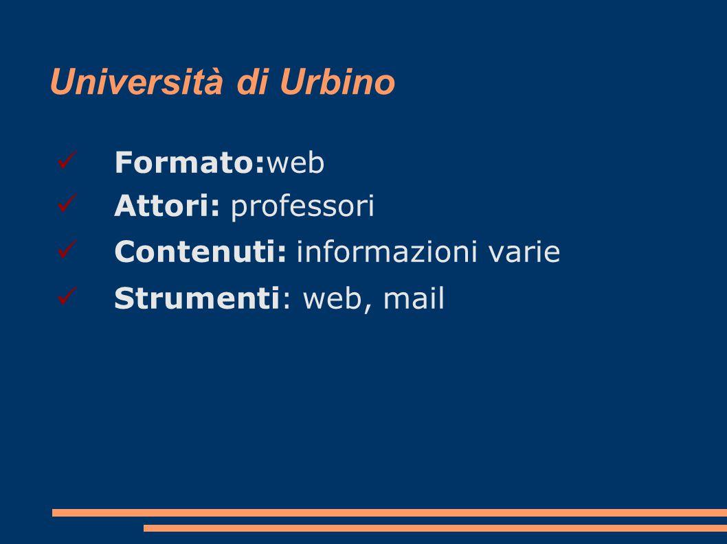 Università di Urbino Formato:web Attori: professori Contenuti: informazioni varie Strumenti: web, mail