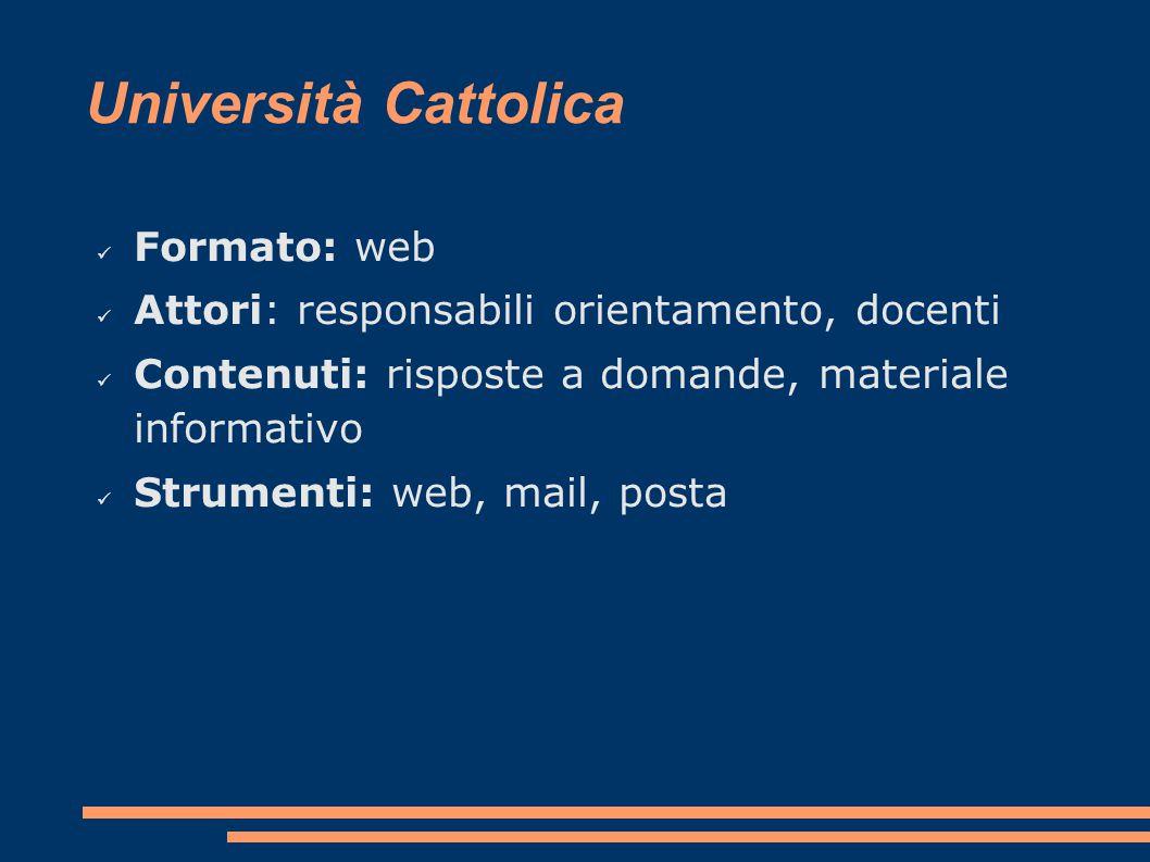 Università Cattolica Formato: web Attori: responsabili orientamento, docenti Contenuti: risposte a domande, materiale informativo Strumenti: web, mail, posta