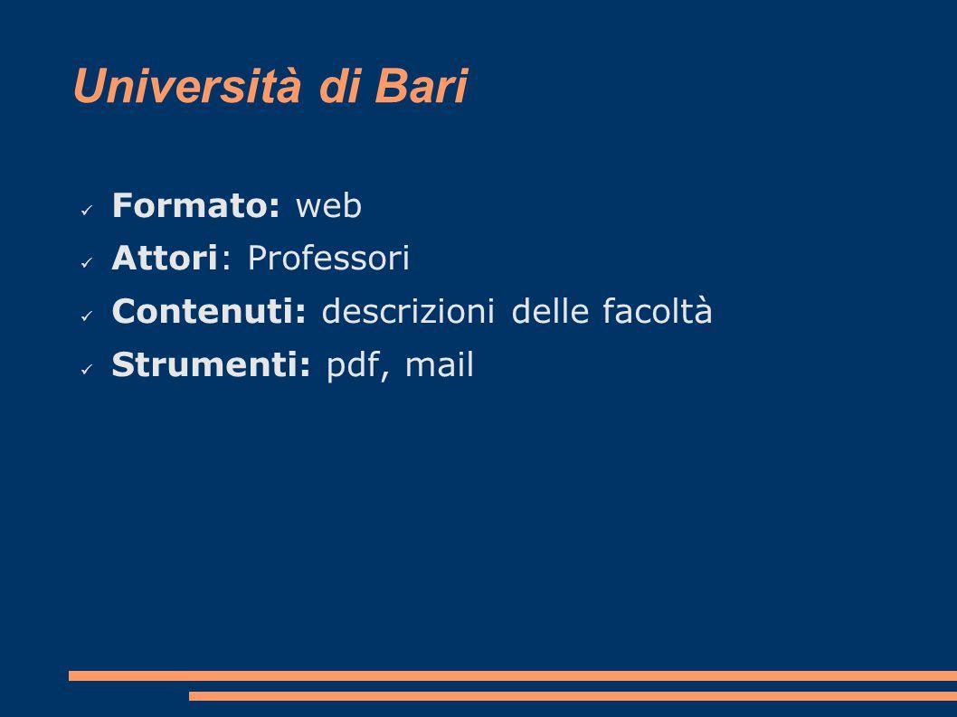 Università di Bari Formato: web Attori: Professori Contenuti: descrizioni delle facoltà Strumenti: pdf, mail