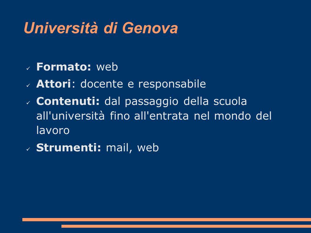 Università di Genova Formato: web Attori: docente e responsabile Contenuti: dal passaggio della scuola all università fino all entrata nel mondo del lavoro Strumenti: mail, web