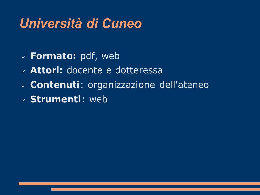 Università di Cuneo Formato: pdf, web Attori: docente e dotteressa Contenuti: organizzazione dell ateneo Strumenti: web