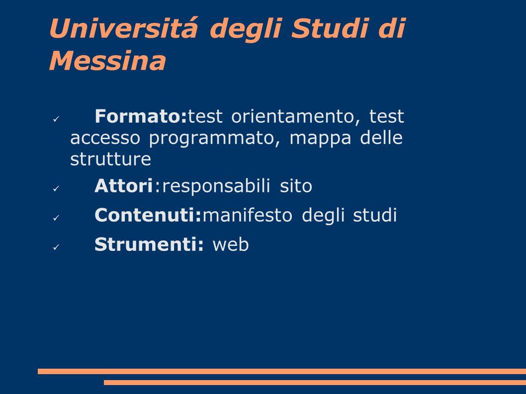 Universitá degli Studi di Messina Formato:test orientamento, test accesso programmato, mappa delle strutture Attori:responsabili sito Contenuti:manifesto degli studi Strumenti: web