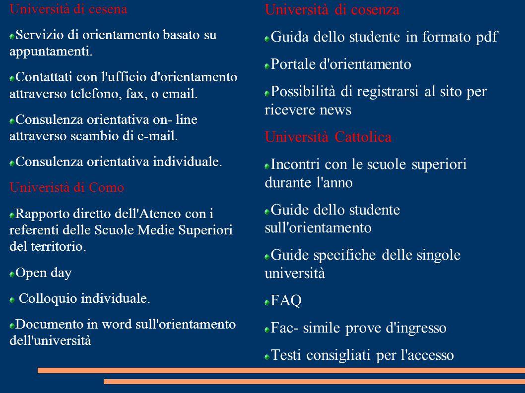 Università di cesena Servizio di orientamento basato su appuntamenti.