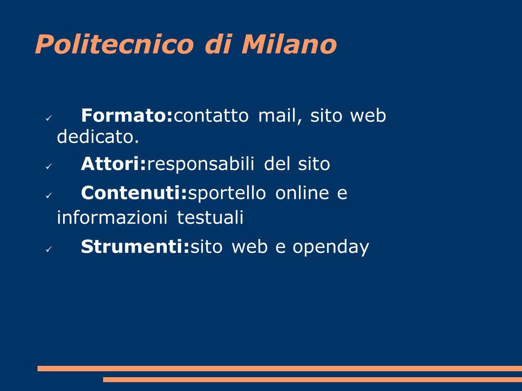 Politecnico di Milano Formato:contatto mail, sito web dedicato.